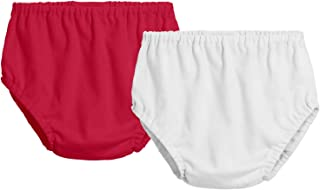 product image for City Threads 2-Pack Baby Girls' and Baby Boys' Unisex Diaper Covers Bloomers Soft Cotton, Red/White, 6/9 m