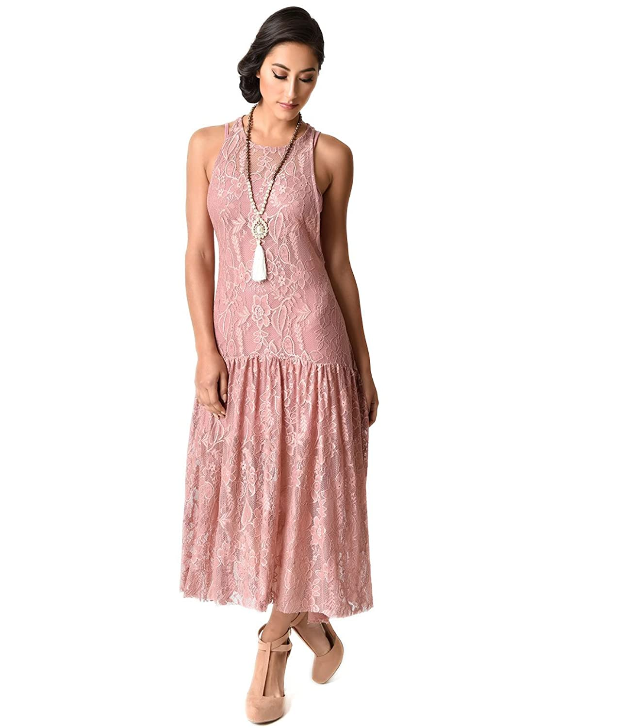 Vintage 1920s Flapper Style Dusty Rose Lace Racerback Midi Dress at ...