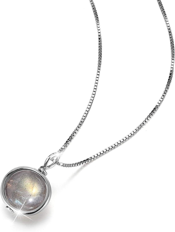 Lotus Fun S925 Collar de plata de ley con caja de piedra de luna, longitud de la cadena de 39,5 cm + 5 cm, con cadena alargada, creativa natural, hecho a mano, joya única para mujeres