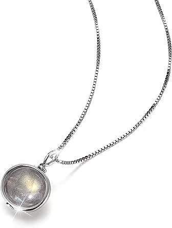Lotus Fun Collar de plata de ley S925 con caja de piedra lunar, longitud de la cadena 39,5 cm + 5 cm, con cadena alargada, creativo, popular, hecho a mano, para mujeres
