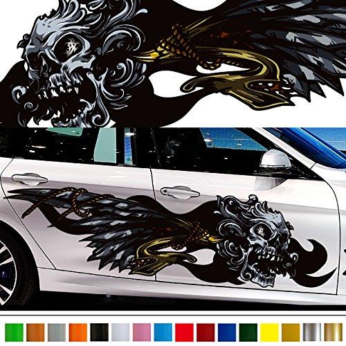 スカルカーステッカーカラー33■髑髏バイナルグラフィックワイルドスピード系デカール車 B01MXHI6WK