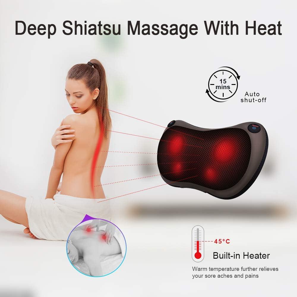 Darsen Massaggiatore per collo e schiena Cuscino per massaggio shiatsu con calore,Cuscino per massaggio shiatsu con massaggio profondo del tessuto per impastare,per collo spalle gambe,casa e ufficio