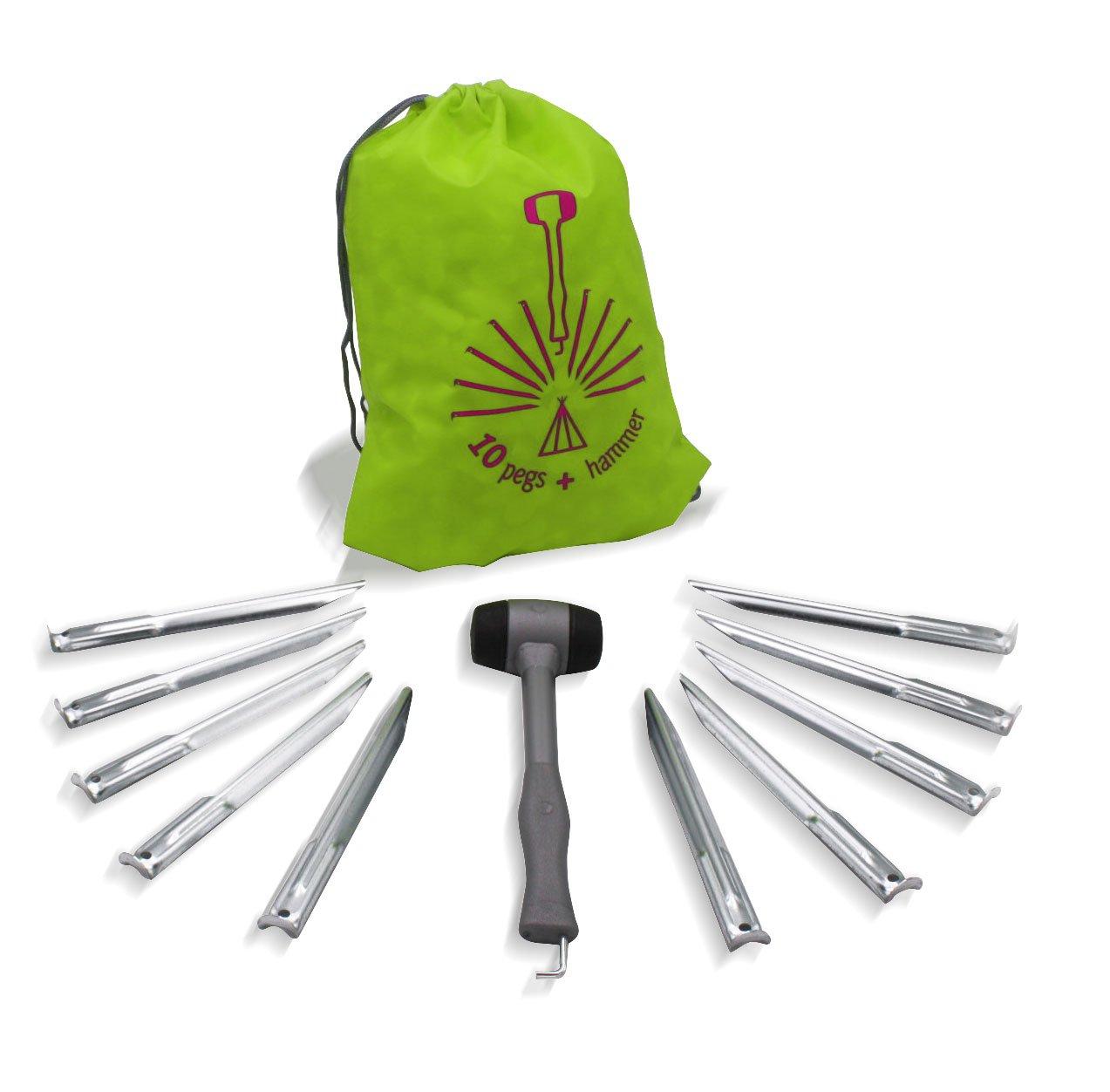 Kit martillo para sacar piquetes de càmping + 10 piquetes 24 cm in acero + bolsa Moscatelli