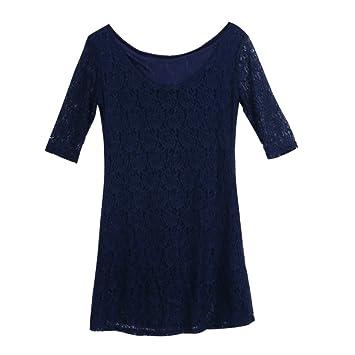 Domybest Encaje Vestido de Cóctel Azul Oscuro con Medio Mangas Corto Vestidos de Fiesta XX-