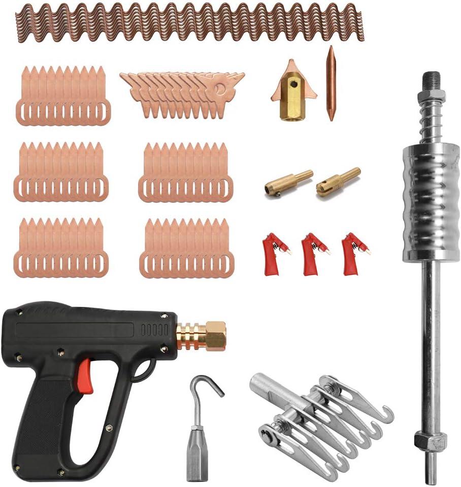 KKmoon Kit de extractor de abolladuras, herramientas de reparación de carrocería, electrodos de soldadura puntual, máquina de soldadura, removedor de abolladuras