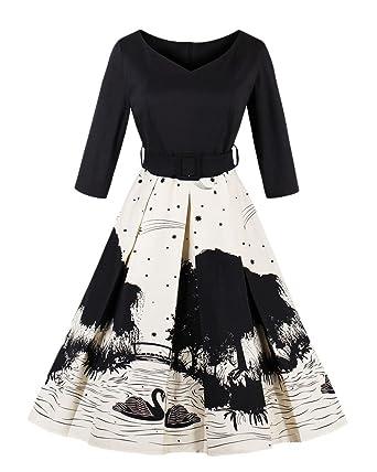3c781caba0bdd8 Damen Elegant Vintage 50er Jahre Kleid Rockabilly Ballkleid Cocktailkleid  mit Schwan Knielang: Amazon.de: Bekleidung