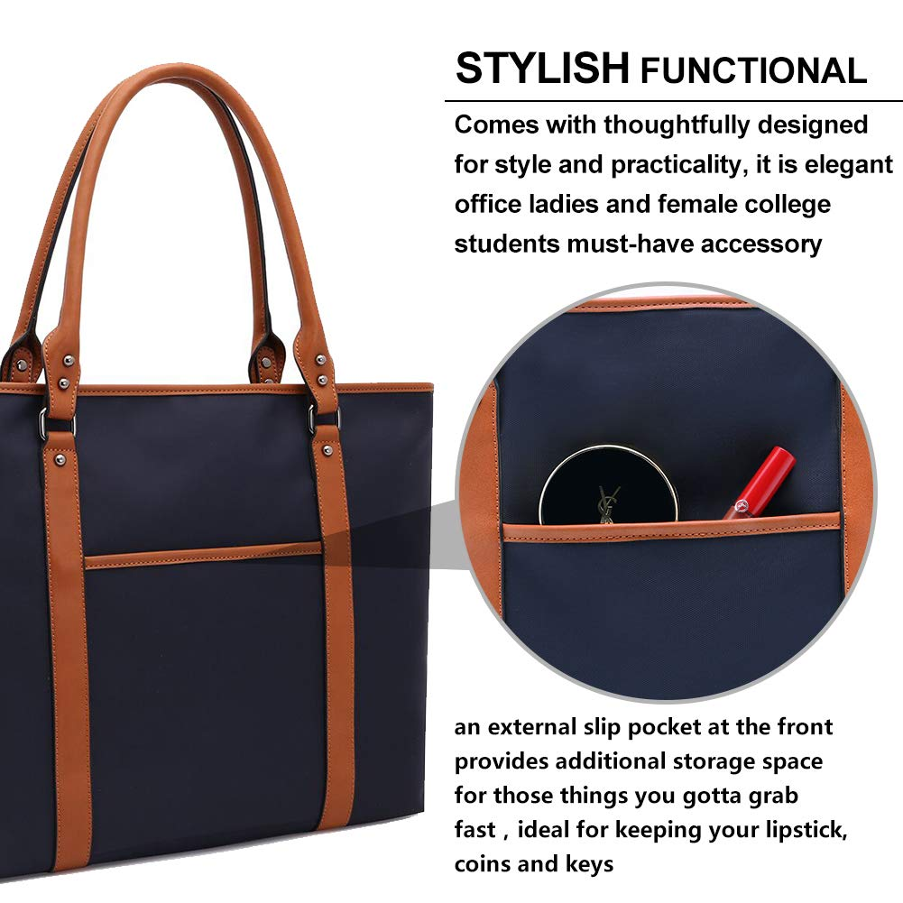 Laptop Bag for Women Lightweight Nylon Work Tote Bags Business School Computer Shoulder Bag Large Capacity Briefcase Accommodate 15-15.6 Inch Laptop,Navy by ZYSUN (Image #5)