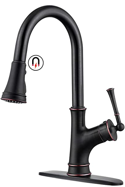 APPASO Kitchen Sink Faucet with Pull Down Sprayer and Magnetic Docking  Spray Head, Oil Rubbed Bronze Single-Handle High Arc Single Hole Pull Out  ...