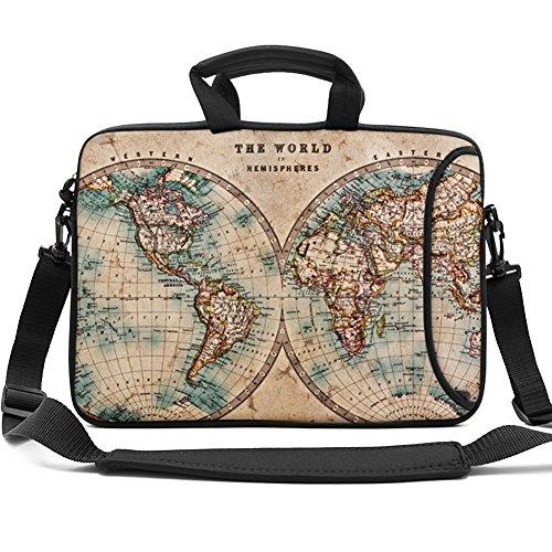 HAOCOO 13 13.3 inch Laptop Shoulder Bag Water-Resistant Neoprene Computer Case Sleeve with Handle Adjustable Shoulder Strap and External Side Pocket,World Map