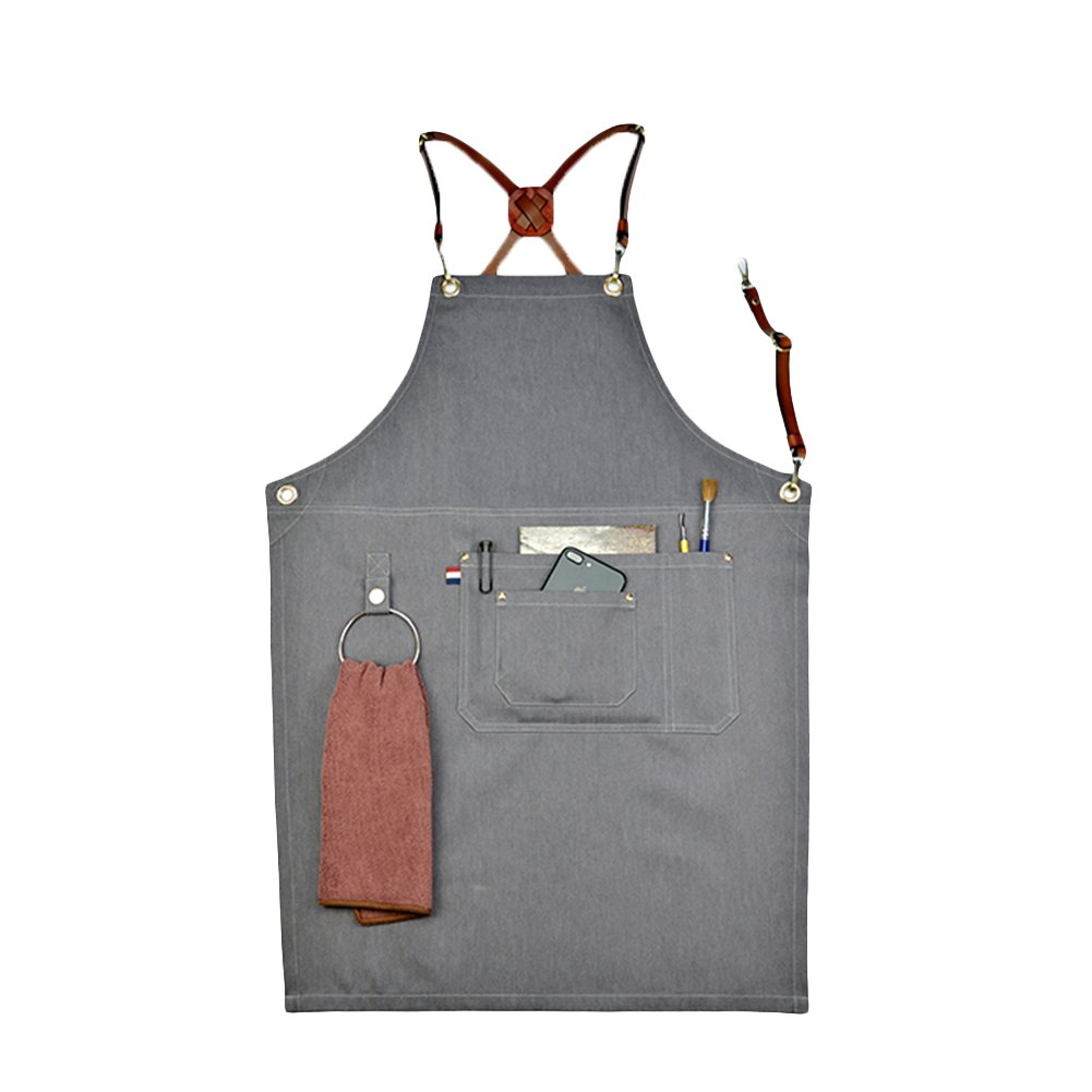 Home-organizer Tech Multi-Use Detachable Tool Apron Heavy Duty Denim Jean Work Apron Salon Barber Hairdressers Apron BBQ Gril Housewife Apron with Pockets, Adjustable for Men & Women (Type A)