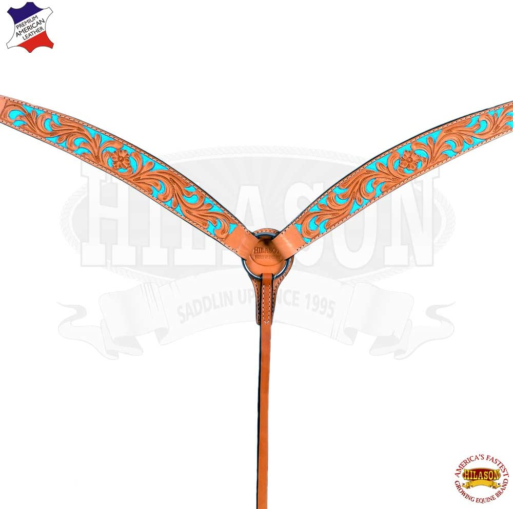 HILASON Western Horse Breast Collar Tack American Leather Tan Turquoise Floral