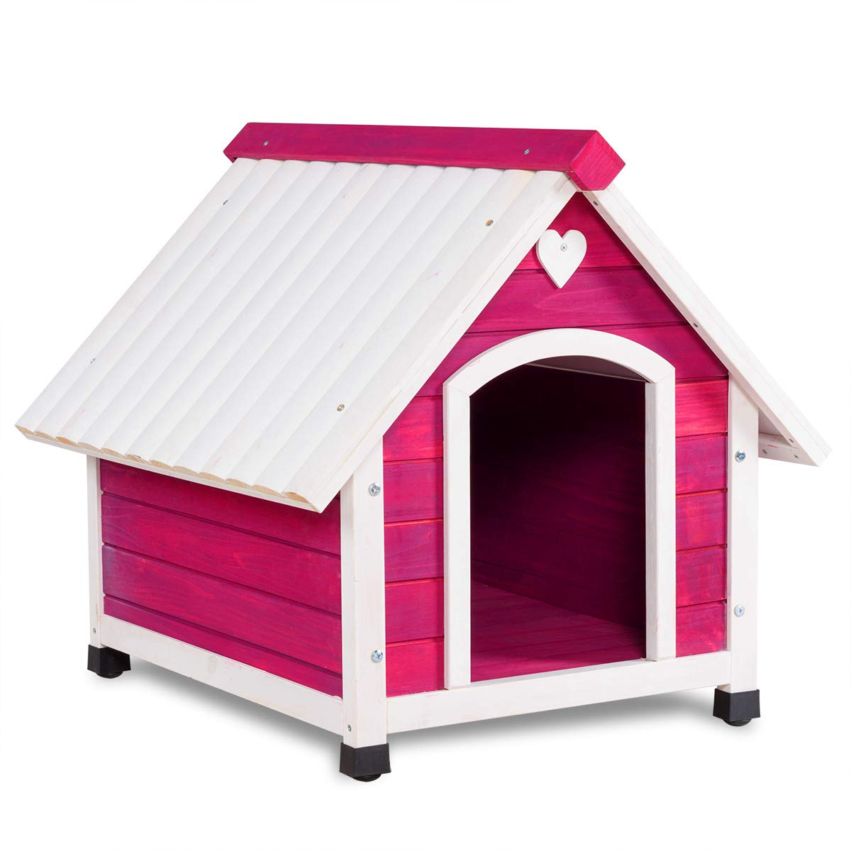 Tangkula Wooden Dog House Outdoor Indoor Lovely Pet Shelter Wood Kennel Weather Resistant Pet House Home with White Roof 2 Size (M/L) (L-Dog House)
