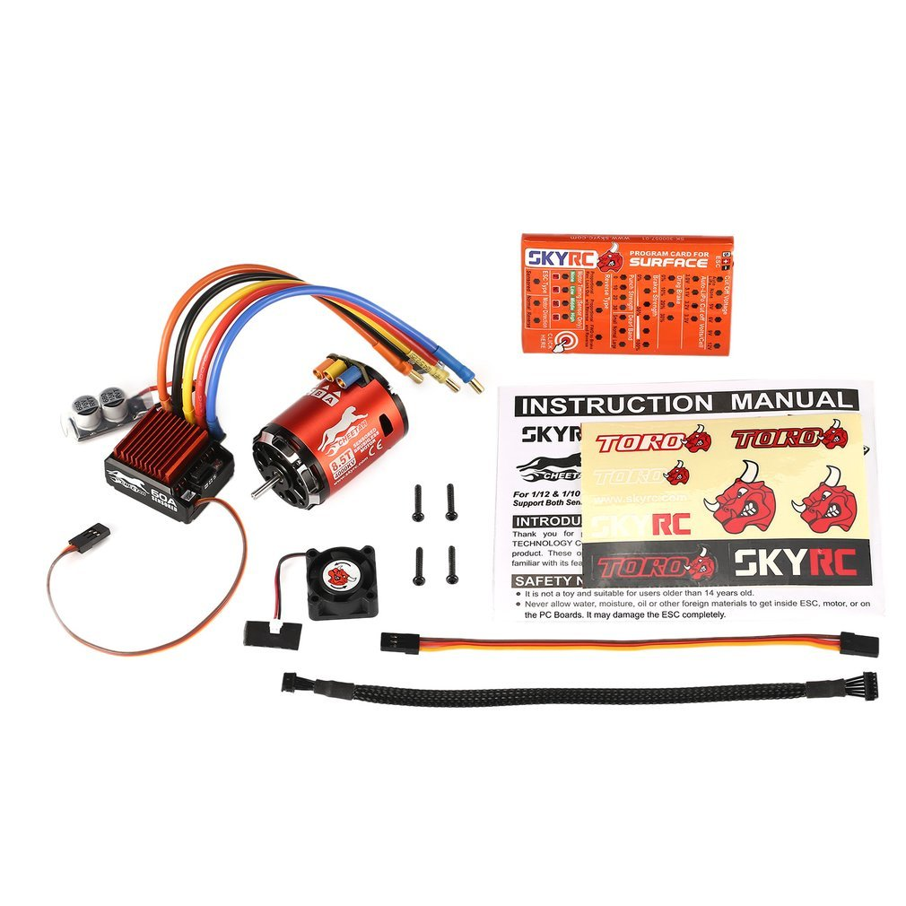 FDBF SKYRC 4000KV 8.5T Sensored Brushless Motor 60A ESC Program Card for 1/10 Car