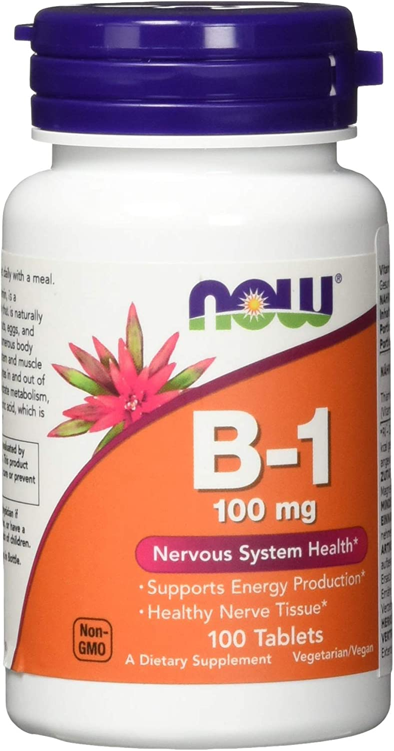 NOW Supplements, Vitamin B-1 100 mg, Energy Production*, Nervous System Health*, 100 Tablets: Health & Personal Care