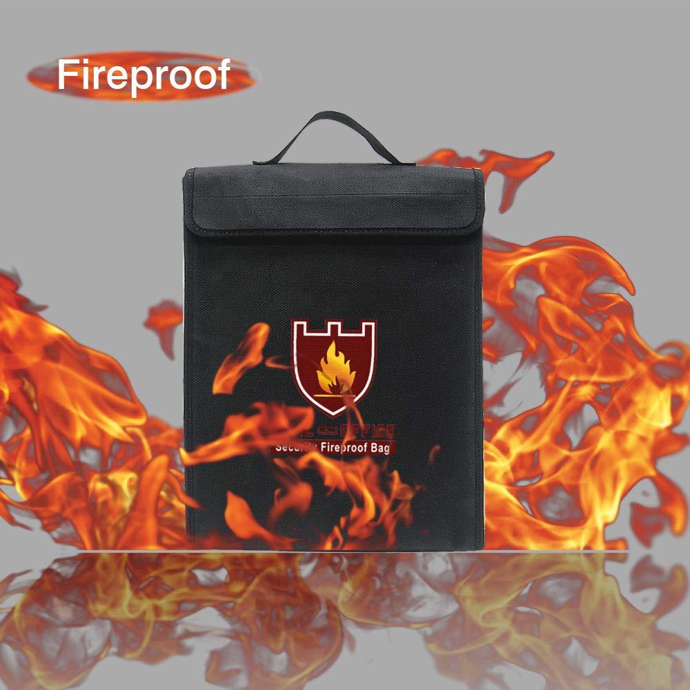 TsunNee Feuerfest Dokumententasche Wasserdicht Dokumententasche Feuer Sicherheit Tasche Lipo Sicher Tasche Schwarz, 38x30.5x6.5cm