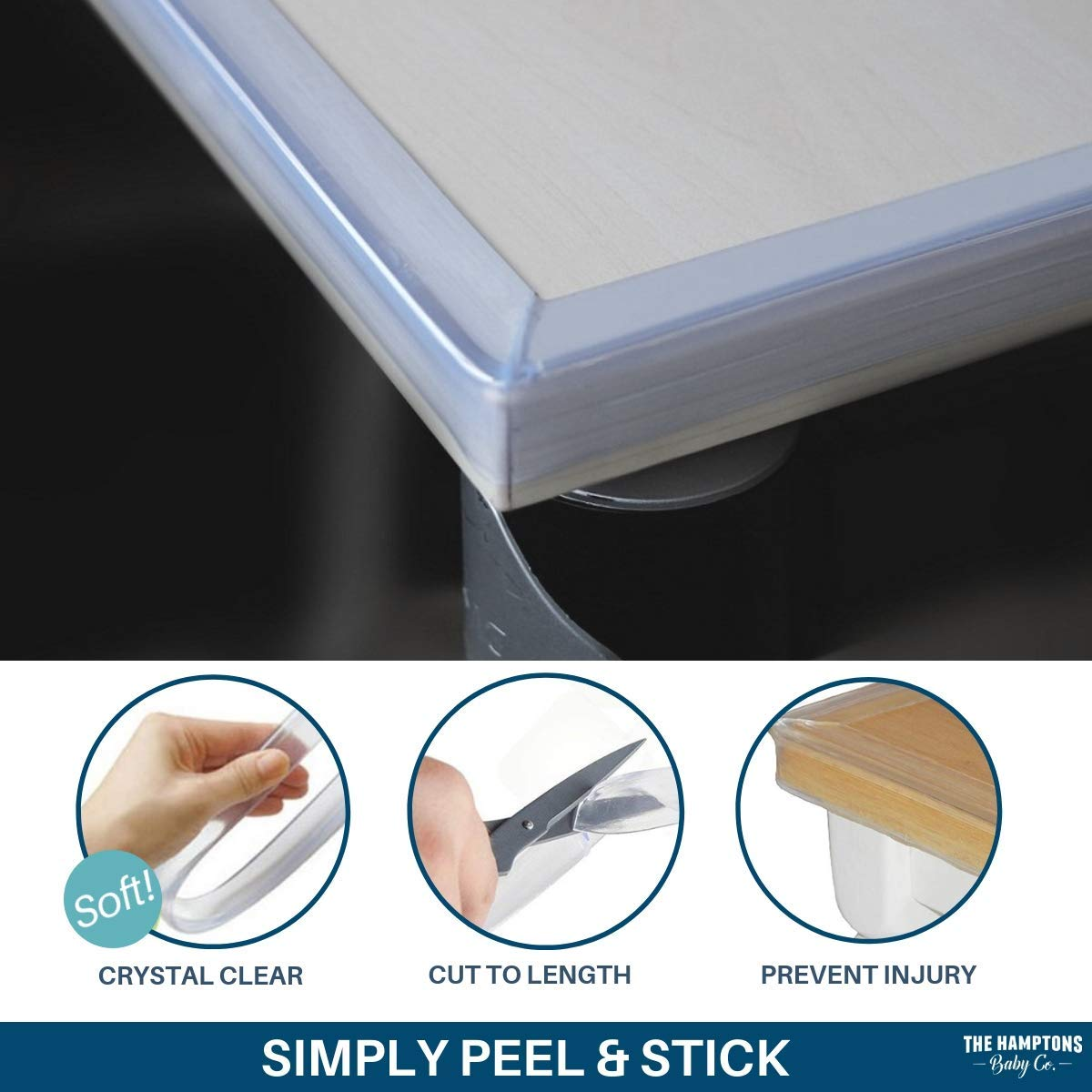 Clear Edge Protectors by The Hamptons Baby - 9-1ft Pieces with Premium Gel Adhesive - Guard Against Injuries on Sharp Edges in Your House, Use on Coffee & Dining Tables, Dressers, Desks and Much More by The Hamptons Baby (Image #10)