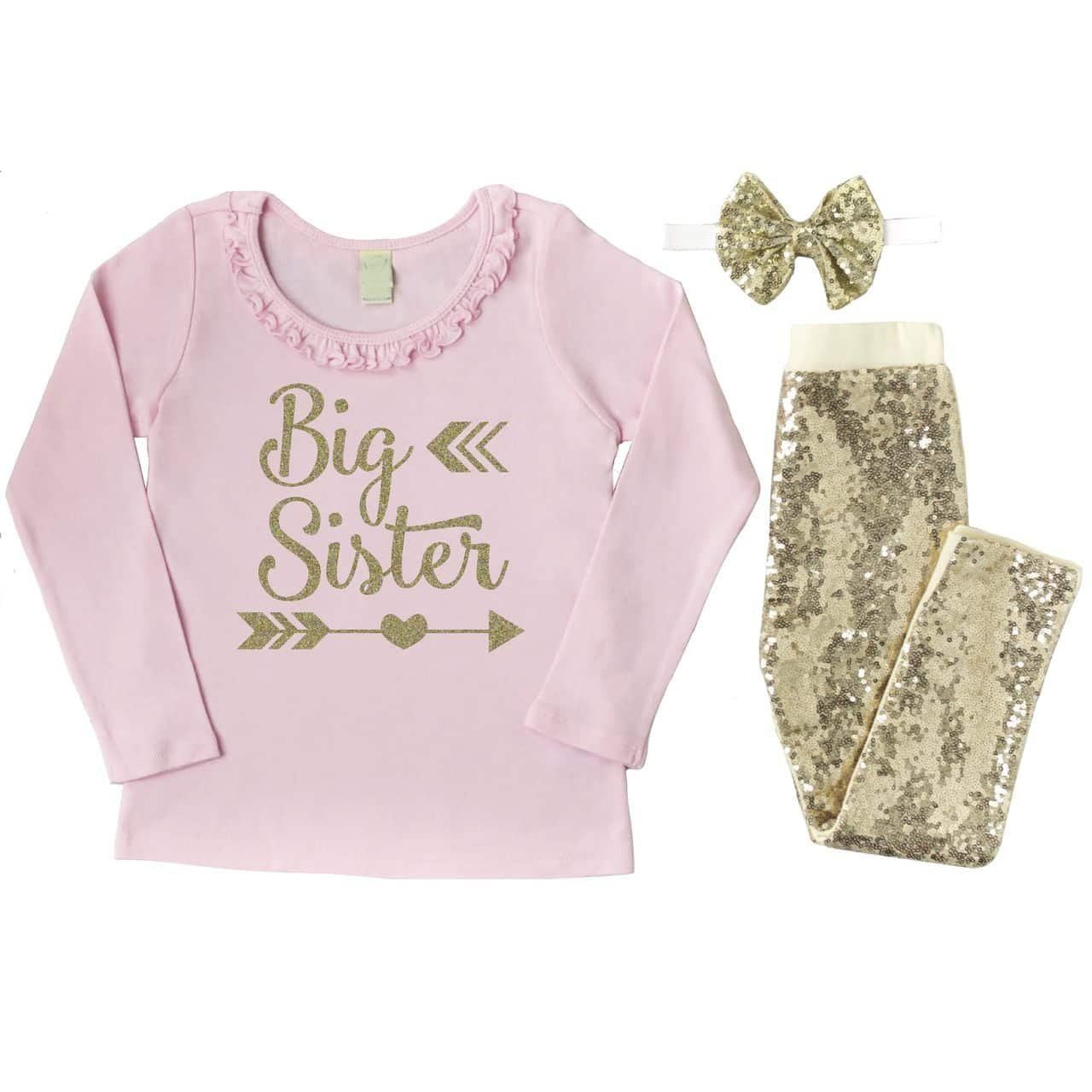 a4c97621e Amazon.com: Big Sister Outfit, Toddler Girl Clothes, Big Sister Shirt Pants  Headband Set: Clothing