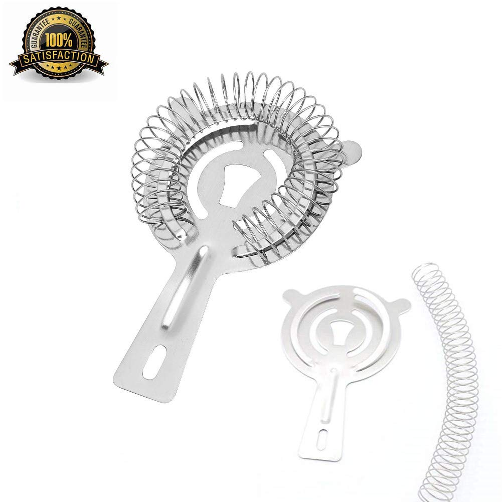 Cocktail Bar Strainer,Stainless Steel Strainer for Professional Bartenders,Quality Fine Mesh Stainless Steel Strainers
