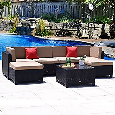Cloud Mountain No Tax 7 Piece Patio Rattan Wicker Sectional Set Summer Backyard Furniture Conversation Set Outdoor Garden Sofa Loveseat, Black Rattan Khaki Cushions - ⭐INCLUDING: 1 glass table, 2 ottomans, 2 pillows, 4 sectional chairs, 6 seat cushions, 6 back cushions. Ship from US in 3 BOXES. No Tax for specific states ⭐EASY USE: Easy assembly required and all hardware included. Removable cushions with zipper for easy cleaning, easy to wash. Cushions are not weather-resistant, please put them away when it is rainy. ⭐HQ MATERIAL: Built from rust-resistant strong steel frame with durable and weather-resistant 9mm-thickness PE rattan wicker for years of use. 200g Moymacrae cover and 24D Sponge interior make you feel more comfortable - patio-furniture, patio, conversation-sets - 61tkzn0EAoL. SS400  -