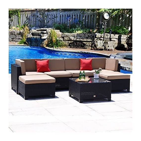 Cloud Mountain No Tax 7 Piece Patio Rattan Wicker Sectional Set Summer Backyard Furniture Conversation Set Outdoor Garden Sofa Loveseat, Black Rattan Khaki Cushions - ⭐INCLUDING: 1 glass table, 2 ottomans, 2 pillows, 4 sectional chairs, 6 seat cushions, 6 back cushions. Ship from US in 3 BOXES. No Tax for specific states ⭐EASY USE: Easy assembly required and all hardware included. Removable cushions with zipper for easy cleaning, easy to wash. Cushions are not weather-resistant, please put them away when it is rainy. ⭐HQ MATERIAL: Built from rust-resistant strong steel frame with durable and weather-resistant 9mm-thickness PE rattan wicker for years of use. 200g Moymacrae cover and 24D Sponge interior make you feel more comfortable - patio-furniture, patio, conversation-sets - 61tkzn0EAoL. SS570  -