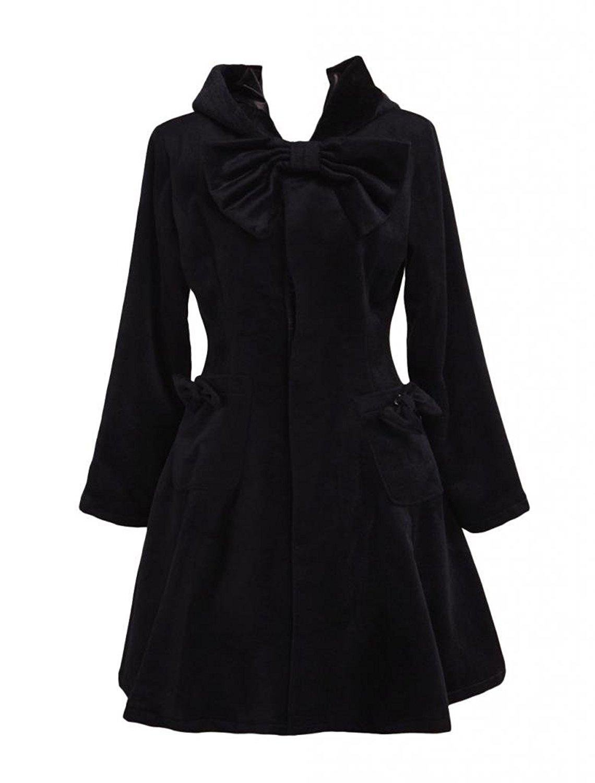 Cemavin Womens Black Wool Bow Long Sleeves Women's Lolita Outfit