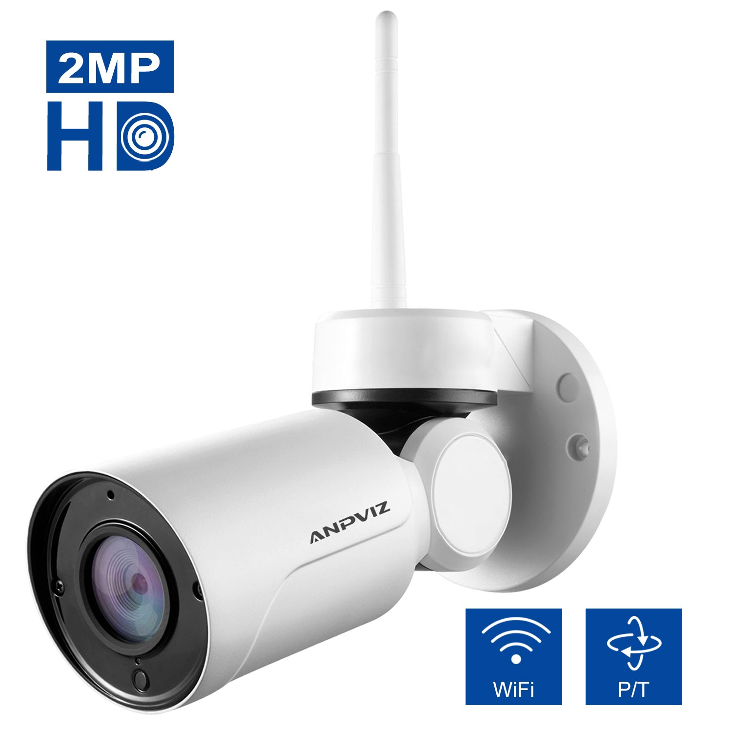 Wireless Security Camera,Anpviz Outdoor PT IP Camera 1080P HD, Pan/Tilt Remote Control, Built-in Microphone, 3.6mm lens and Night Vision, Support Max 128GB SD Card by Anpviz