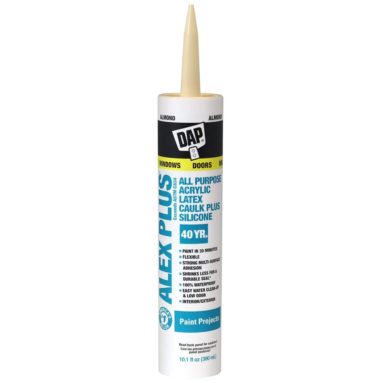 DAP, Almond 18130 Acrylic Latex Caulk with Silicone, 10.1-Ounce