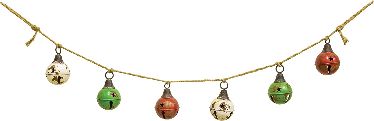 Weathered Bells Banner Red and Green 67 inch Metal On Rope Christmas Garland