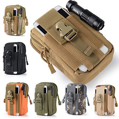 Leagway Multipurpose Tactical EDC Utility Gadget Pouch Molle Hip Waist Belt Bag Universal Cell Phone Holster Outdoor Military Wallet Nylon Case Camping Hiking Gear Tool Organizer (Khaki)
