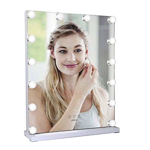 ANNSAN Hollywood Lighted Vanity Mirror With 14 Dimmable LED Bulbs And Touch Control Design, Three colors Adjustable Makeup Mirrors With Light Kit, Tabletop Makeup Cosmetic Mirrors, White