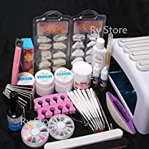 25 in 1 Professional Nail Art UV Gel Kit 36W UV Lamp Timer Dryer Brush Buffer Tool Cuticle Pusher Sand Block Files Side Clipper Top Coat Nail Tips Glue Set #50 by RY