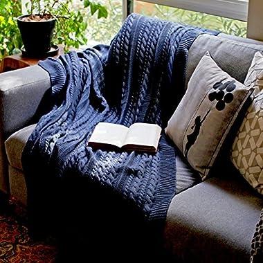 Viverano 100% ORGANIC COTTON Throw Cable Knit Blanket (50 x70 ) Super Soft Warm Luxurious All-Season Non-Toxic Eco-friendly (Navy Blue Dark)