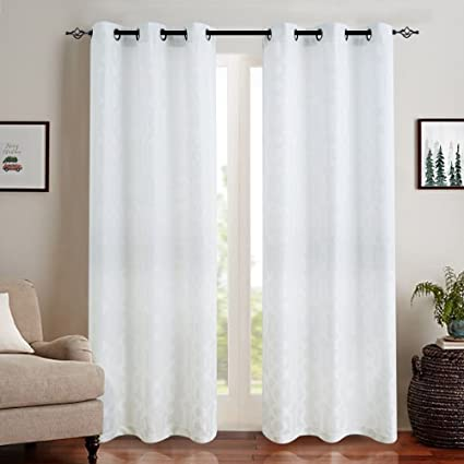Jacquard Curtains For Living Room 95 Inch Length Trellis Geometric Pattern White Semi Sheer Window