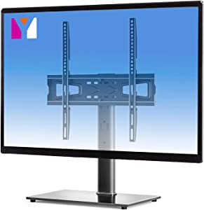 Universal TV Stand Base Table top TV Stand for 27-55 inch LCD LED TVs,Height Adjustable Base for tv with Tempered Glass Base and Wire Management,Black