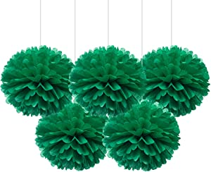 """16"""" Green Tissue Pom Poms, DIY Paper Flower Hanging Party Decorations, Pack of 5"""
