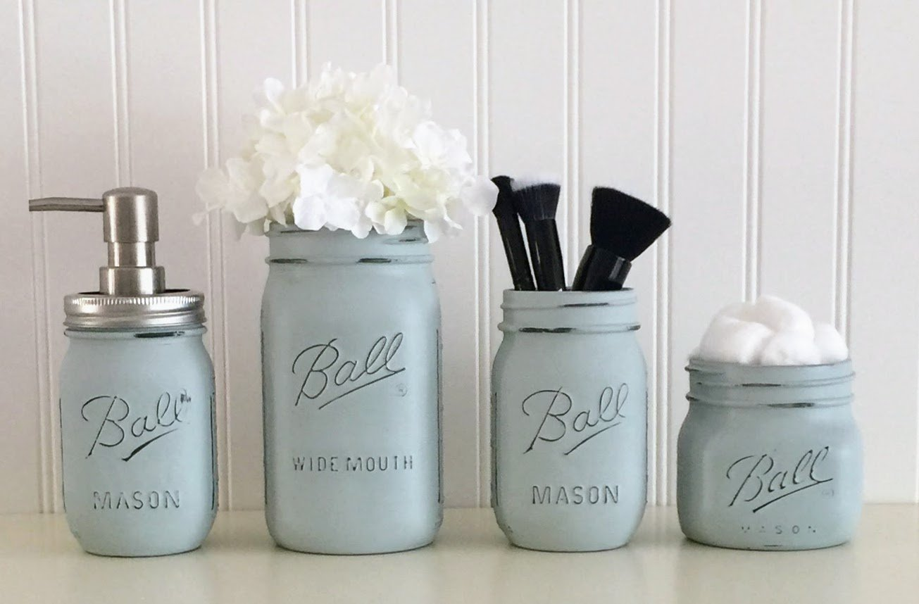 Mason Jar Bathroom Accessory Set - 4 Piece, Blue, Soap Pump, Vase, Vanity Organizer