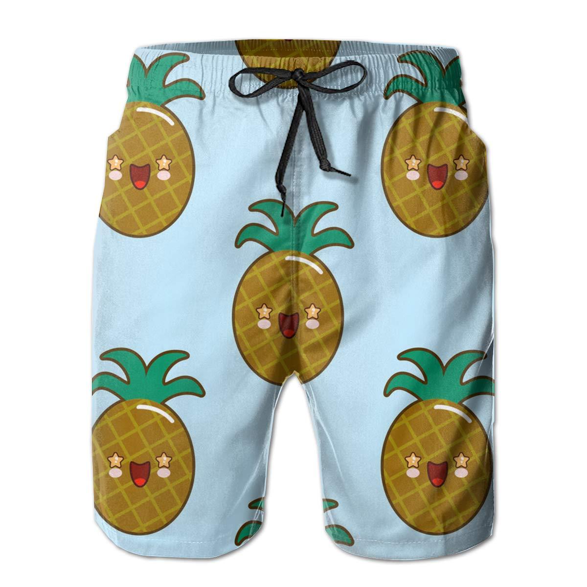 SARA NELL Mens Swim Trunks Cute Smiling Pineapples Emoji Surfing Beach Board Shorts Swimwear