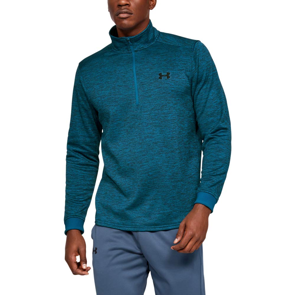 Under Armour Men's Armour Fleece 1/2 Zip, Teal Vibe (417)/Black, Small by Under Armour