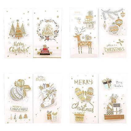 Ruikey 8PCS Tarjetas de Felicitación de Navidad con Sobres Tarjeta de Navidad Tridimensional Tarjetas de Regalo 12 * 21.7cm