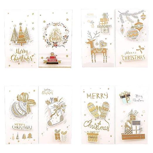 Topdo 8X Tarjeta de Felicitación Navidad con Papel Sobres para Navidad Fiesta Greeting Card Cumpleaños Boda Postal Regalo Año 21.7 * 12cm Elementos ...