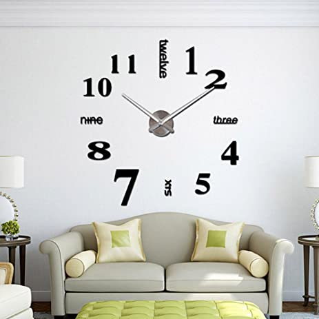 CoZroom Large Black 3D Frameless Wall Clock Stickers DIY Decoration For Living Room Bedroom