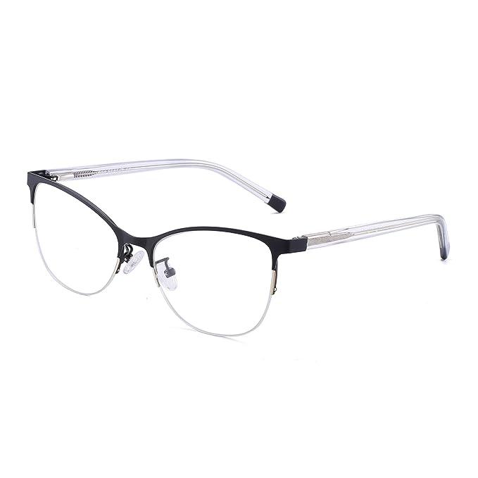 e01034b4bdc4 JIM HALO Semi-rimless Non-Prescription Glasses Spring Hinge Metal  Eyeglasses Women Men Black