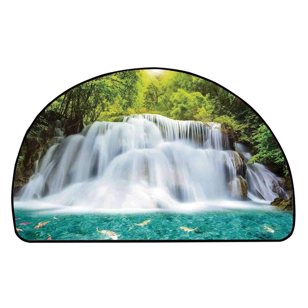C COABALLA Waterfall Comfortable Semicircle Mat,Clouds of Fog Rolling Over Waterfall and Trees Clear Pond with Fishes for Living Room,11.8'' H x 23.6'' L