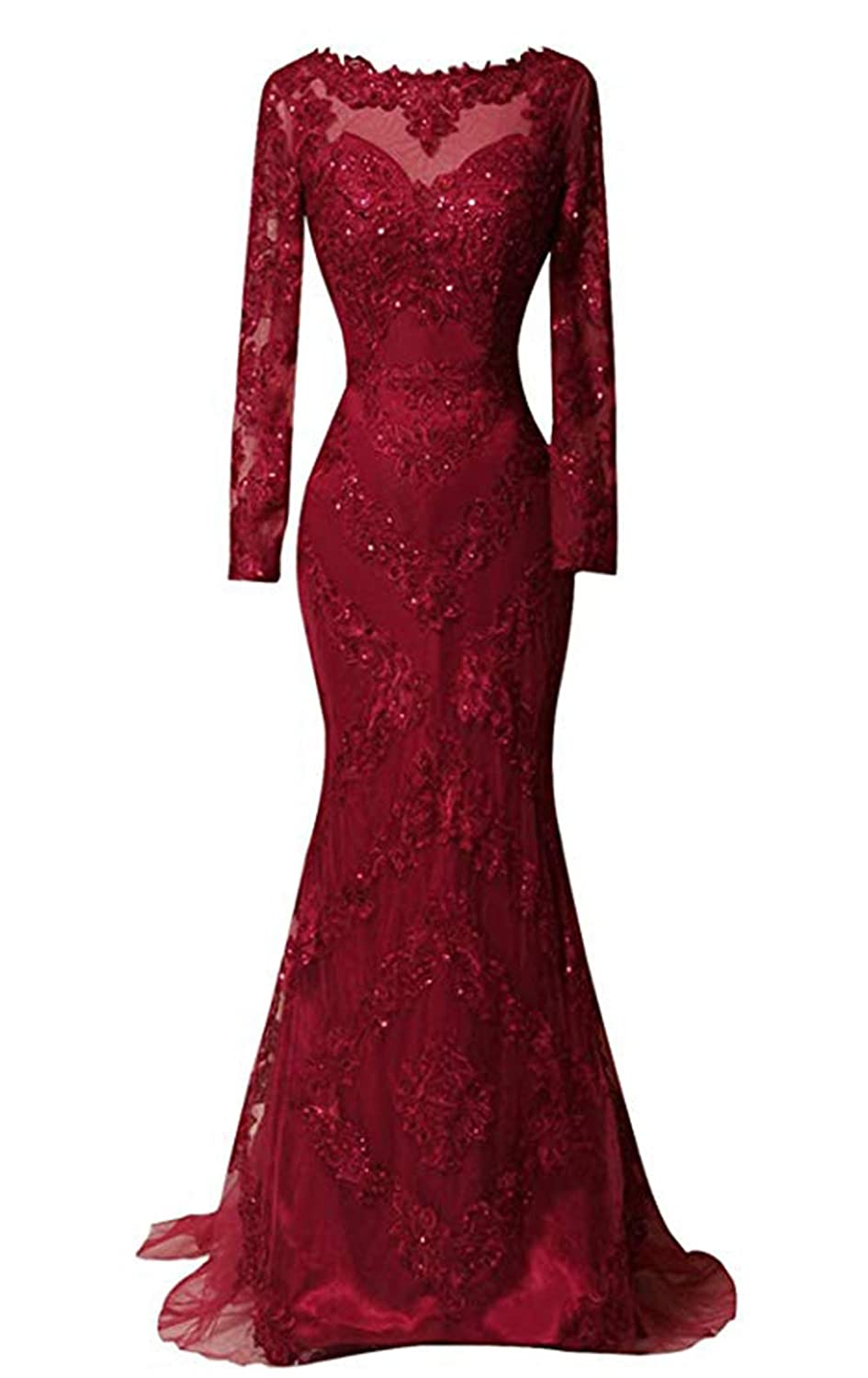 Burgundy Ri Yun Women's Long Sleeves Lace Prom Dresses Mermaid Formal Evening Ball Gowns 2019