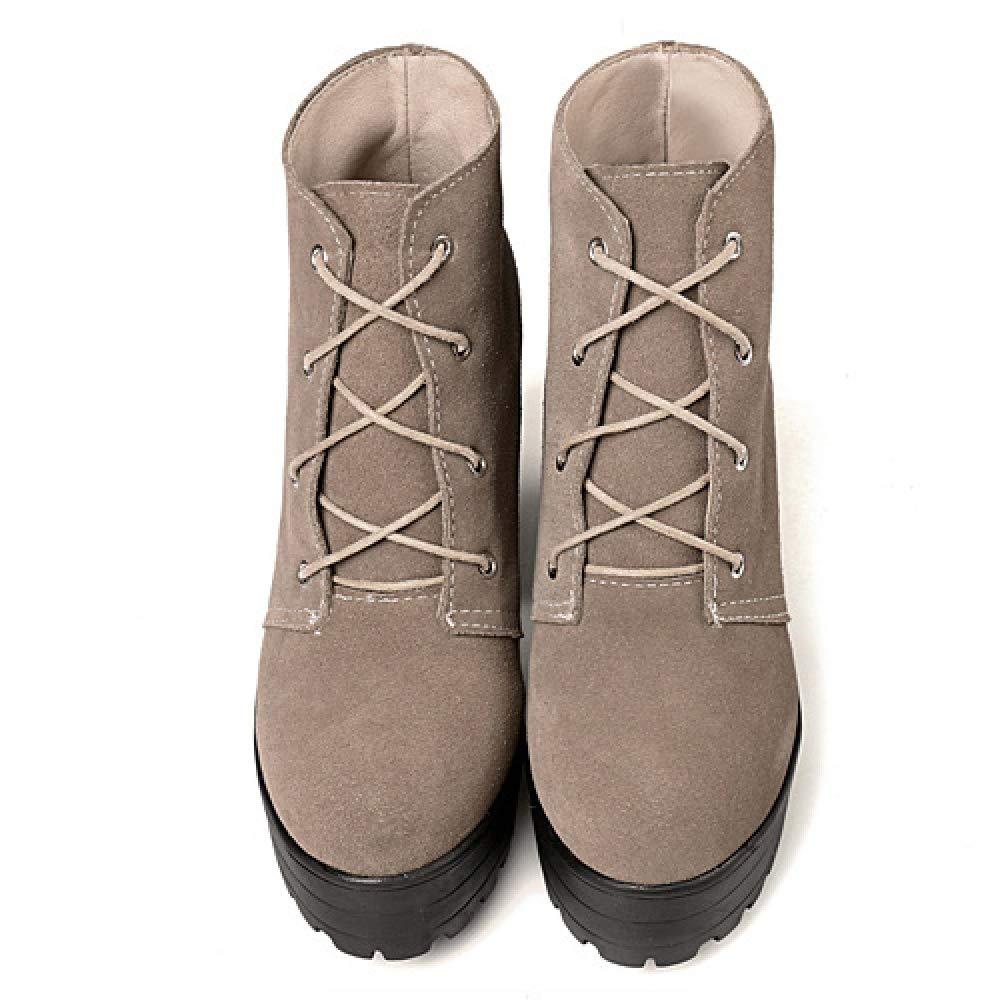 Damen Damen Wildleder Mid Block Heel Ankle Stiefel Schuhe Plattform Plattform Plattform Lace Up Winter Short Classic Office Stiefelies  b45cea