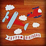 Airplane Happy Birthday Banner Set Double Backed Thick by PaperPerfect Designs
