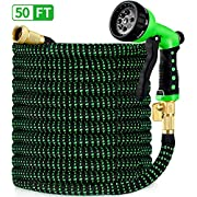 """#LightningDeal HBlife 50ft Garden Hose, All New 2020 Expandable Water Hose with 3/4"""" Solid Brass Fittings, Extra Strength Fabric - Flexible Expanding Hose with Free Water Spray Nozzle"""