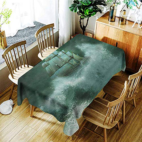 - XXANS Tablecloth,Pirate Ship,Old Ship in Thunderstorm Digital Artwork Fantasy Adventure,Party Decorations Table Cover Cloth,W54x72L Jade Green Dark Green White