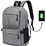 Business Slim Laptop Backpack, ORSIEC College Casual Travel Stylish Bag, Classic Water Resistant Work School Bagpack with USB Charging Port for Men Women Fits 15 & 15.6 Inch Laptop & Computer (Grey)