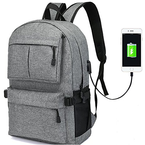 Business Slim Laptop Backpack, ORSIEC College Casual Travel Stylish Bag, Classic Water Resistant Work School Bagpack with USB Charging Port for Men Women Fits 15 & 15.6 Inch Laptop & Computer (Gray) by ORSIEC